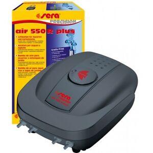 Sera Air 550 R Plus Aérateur de bassin pour aquarium avec pompe à air à diaphragme, 2 x bulles