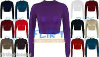 Womens Crop Top Ladies Polo Turtle Neck Long Sleeve Cropped T-Shirt Jersey Tops