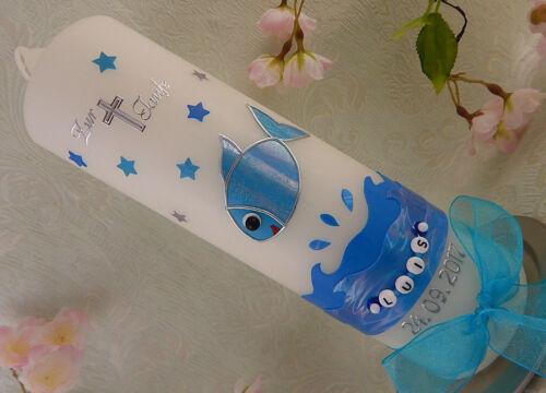 Taufkerze Fisch blau silber Junge Mädchen mit Name und Datum NEU