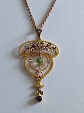 Attractive Fine Suffragette 9ct Gold Amethyst, Peridot & Pearl Pendant / Chain
