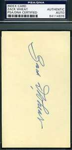Zack-Wheat-Psa-Dna-Coa-Autograph-3x5-Signed-Index-Card