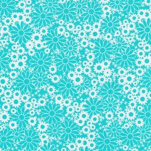 Fabri-Quilt-Baby-Talk-Turquoise-Daisys-100-cotton-Fabric-by-the-yard