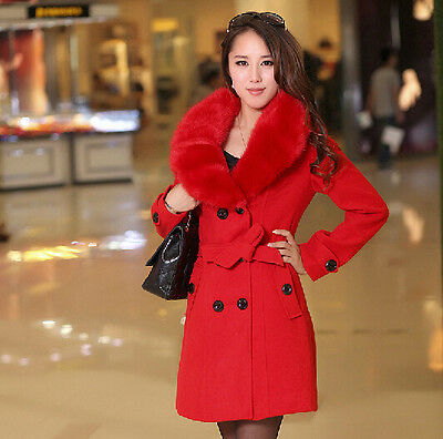 New Womens Wool Faux Fur 2018 Trench Parka Double-Breasted Winter Coats Jackets