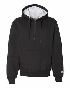 Champion-Cotton-Max-Hooded-Quarter-Zip-Up-Hoodie-Sweatshirt-Pullover-Mens-S185