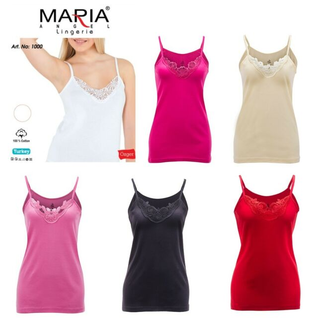 Womens 8-18 Coral Cotton Vest Top Lace Trim Cami Tank Strappy Camisole Lot UK