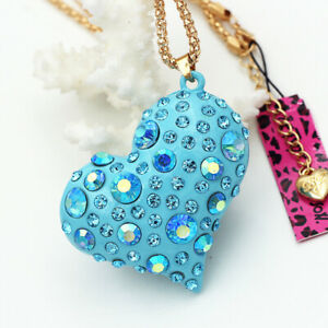 Betsey-Johnson-Enamel-Crystal-3D-Love-Heart-Pendant-Sweater-Chain-Necklace-Gift