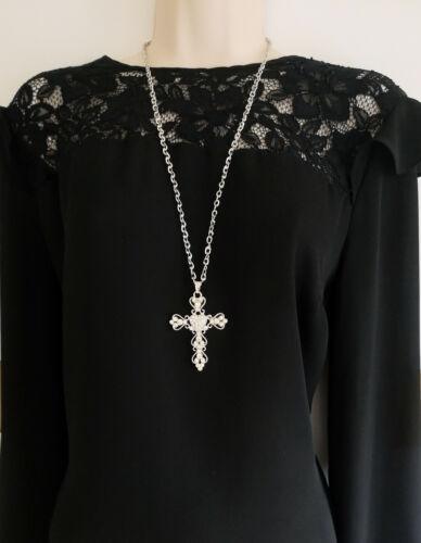 "Preciosa 26/"" Largo Tono Plata /& Gran Corazón Diamante Cruz Colgante Collar de cadena"