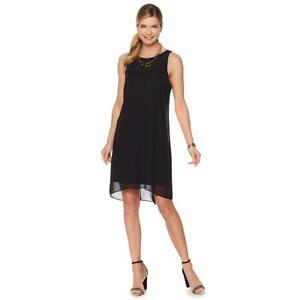 Vince-Camuto-Women-039-s-Hi-low-Chiffon-Overlay-Shift-Dress-Rich-Black-Medium-Sz-HSN