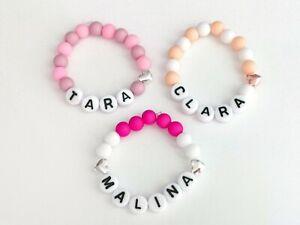 Details Zu Baby Kinder Armband Name Buchstaben Geburt Taufe Mädchen Weiß Lachs Beige Pink