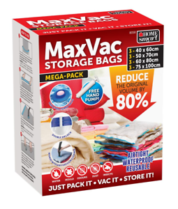 MaxVac 12pcs Vacuum Storage Bags for Duvets Blankets Bed Sheets Clothes Mega Pck