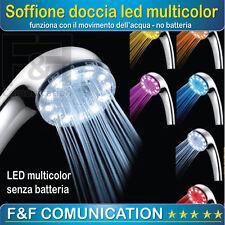 SOFFIONE MISCELATORE DOCCIA LED 7 COLORI RGB LUCE TERMICA CROMOTERAPIA DOCCETTA