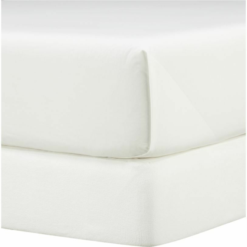 Crate and & Barrel MATELASSE BOX SPbague COVER-blanc-KING-elastic defect-nouveau Read