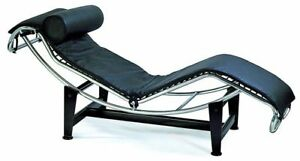 Image Is Loading Le Corbusier Chaise Lounge Chair In Black Genuine