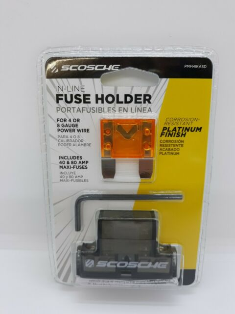 Scosche In Line Fuse Holder 40  U0026 80 Amp Maxi Fuses For 4 Or 8 Gauge Power Wire