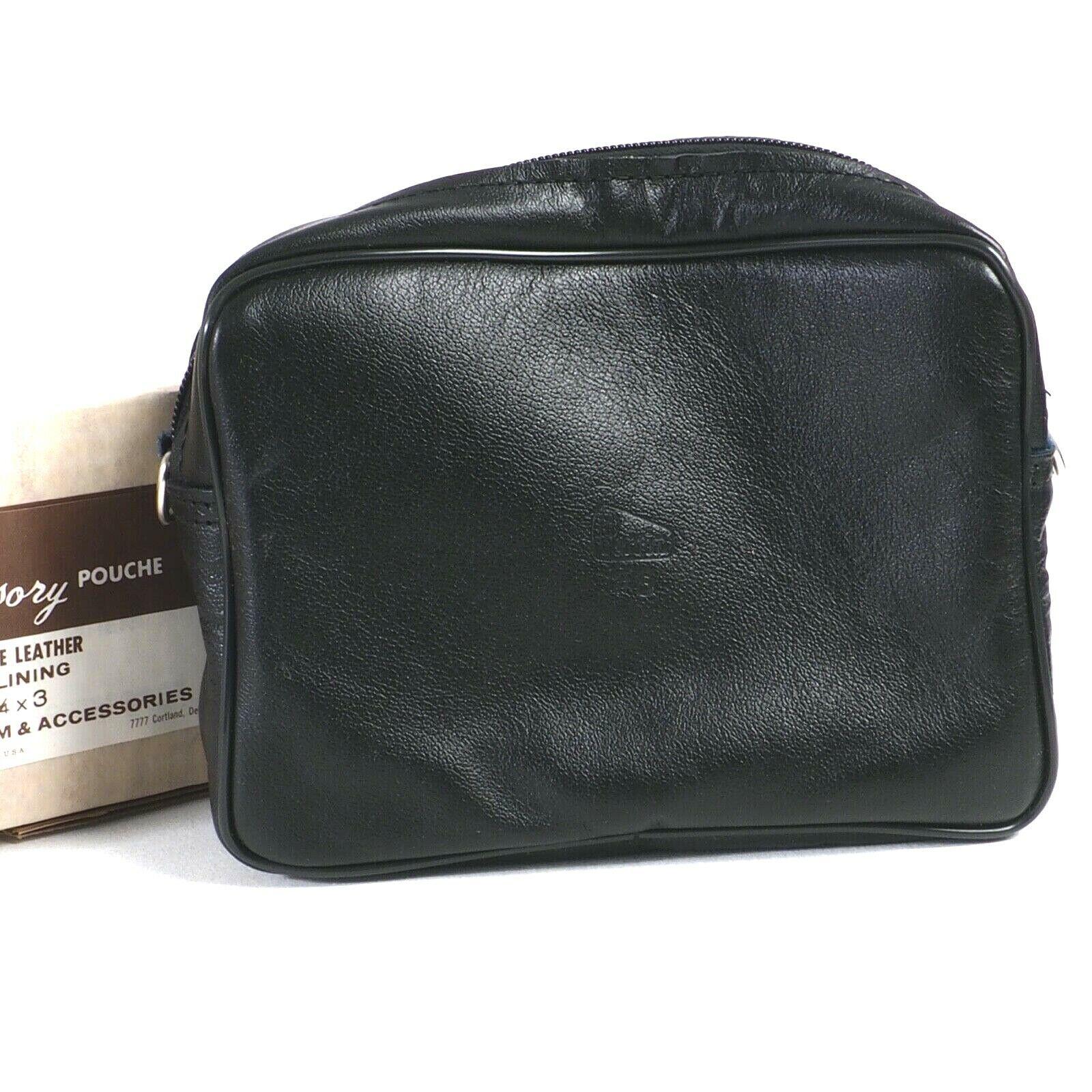 ^ Genuine Perrin Black Glove Leather Camera Case [8x6x3] w/Box [NOS]