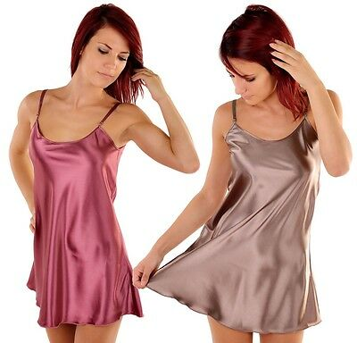 Damen Satin Nachtkleid Nachthemd Dessous Negligee Babydoll Nachtwäsche Sleepwear