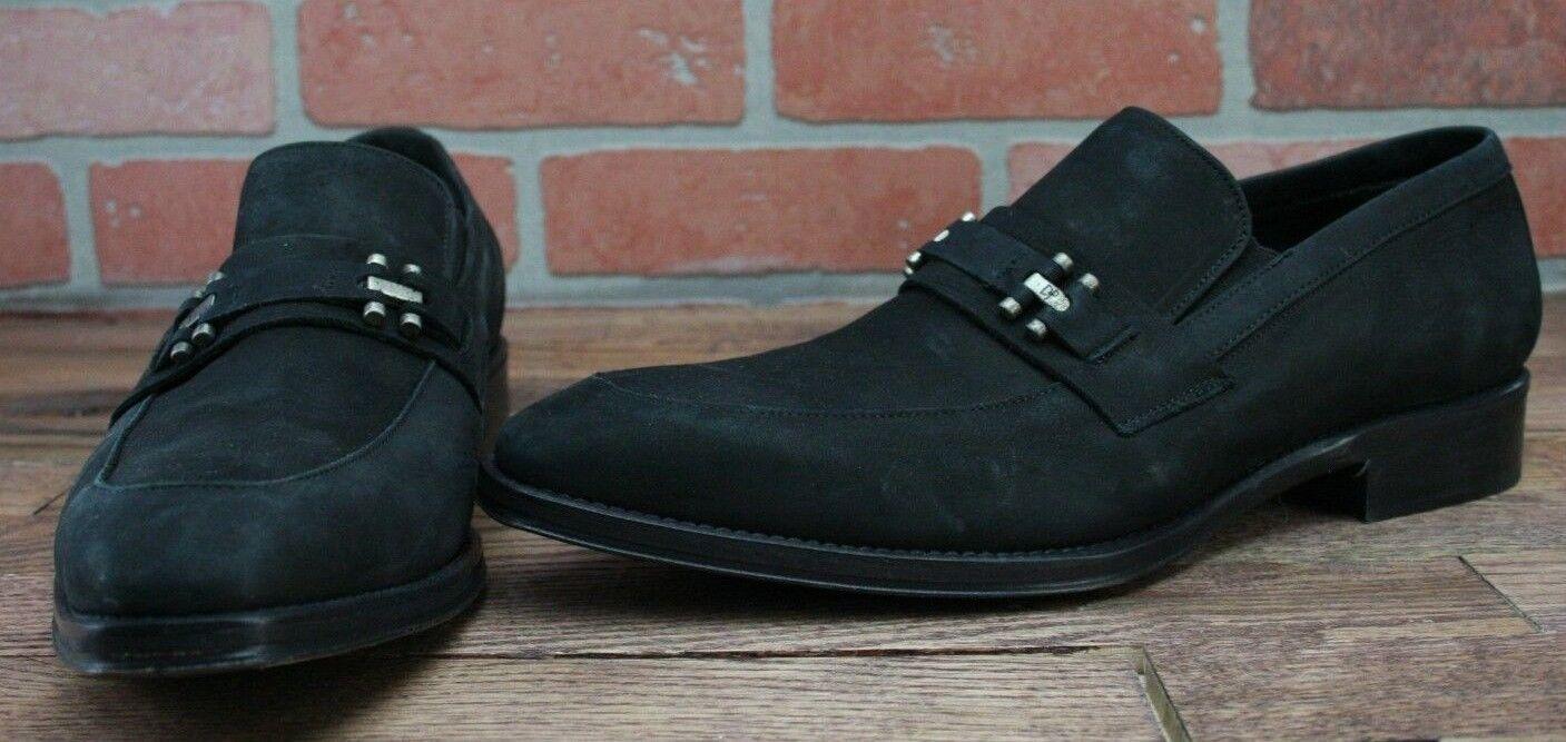 Signature Donald J Pliner Men's Suede Hardware Dress Shoes Black Size 10 M
