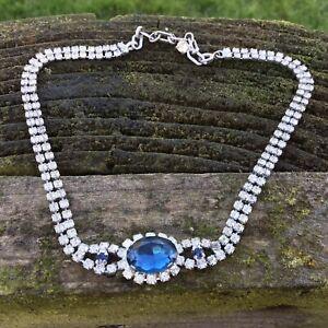 VIntage-Chocker-Necklace-Diamante-amp-Blue-Faceted-Crystal-Rhinestone-14