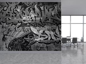 Carta Da Parati Fumetti Bianco E Nero.Parete Di Graffiti Arte Urbana Bianco E Nero Foto Carta Da Parati