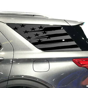 3rd Windows Custom Design XR1-FE5.A Distressed USA Flag Decals For 2011-2019 Ford Explorer