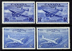 CANADA AIR MAIL SPECIAL DELIVERY #CE1-CE4 SET/4, 1942-46, MLH