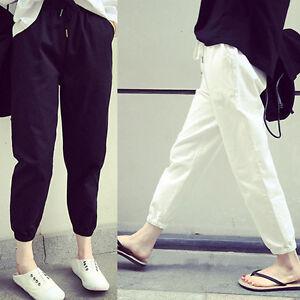 Korean-Women-Casual-Pants-Long-Trousers-Summer-Elastic-Waist-Loose-Slim-Harem-F