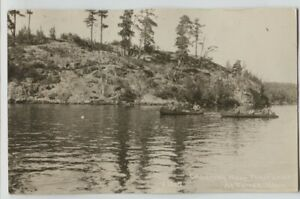 1928-People-Canoeing-Trout-Lake-Tower-Minnesota-Real-Photo-Postcard-RPPC