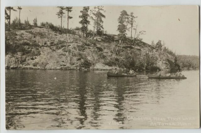 1928 People Canoeing Trout Lake Tower Minnesota Real Photo Postcard RPPC