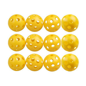 50-x-Golf-Tennis-Practice-Training-Balls-Plastic-Whiffle-Airflow-Hollow-Yellow