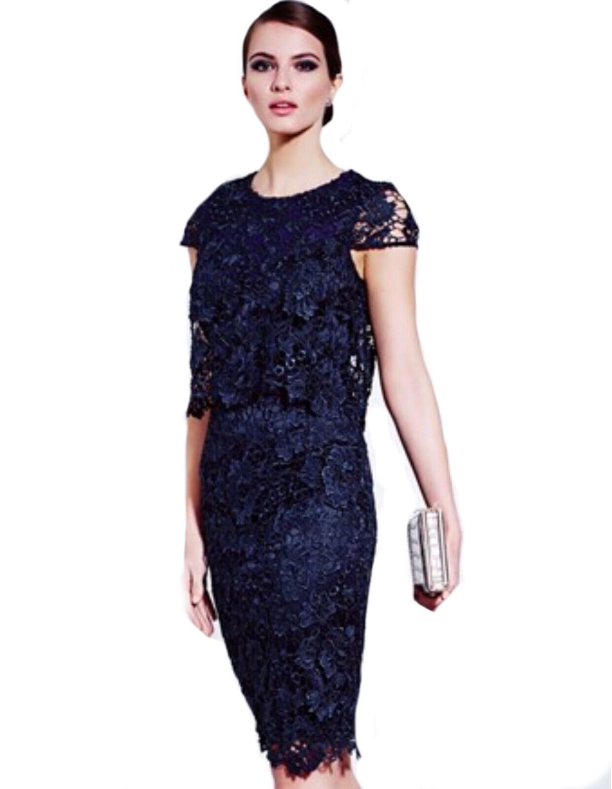 Lipsy 10 VIP Navy bluee Lace Two In One Midi  Dress BNWT Stunning