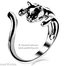 SILVER CAT RING ADJUSTABLE Wicca Witch Pagan Goth Yoga GREAT GIFT IDEA