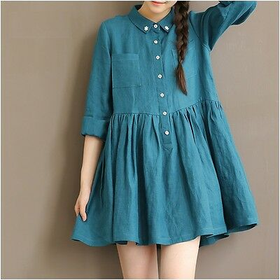 Retro Mori Girl Darl blue Long Sleeve Dress Lolita Blouse Dress Japanese