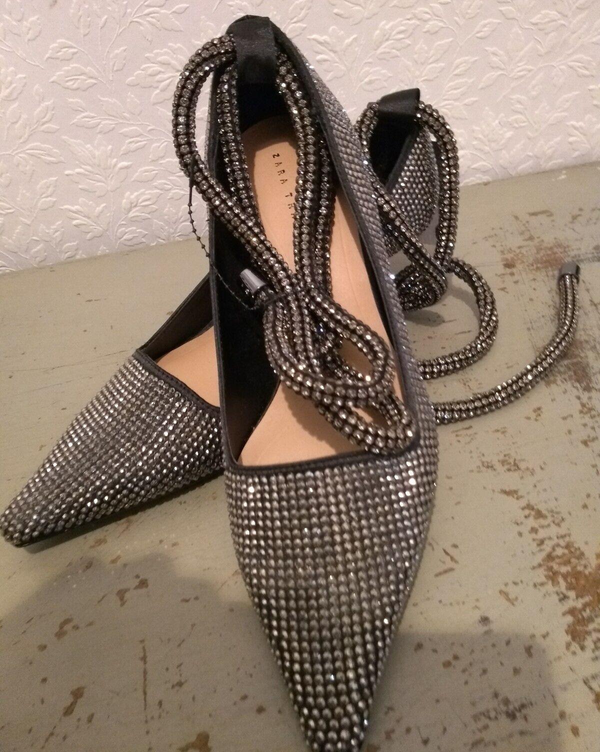 Zapatos de piedra agotado Zara Negro Corbata correas en el el el tobillo se cura de la pierna Tamaño  3 Bnwt Libre P&P  contador genuino