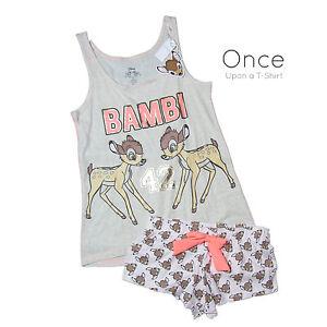 PRIMARK Ladies DISNEY BAMBI  42 FOIL PRINTED Vest and Shorts Pyjama ... a19bd187642