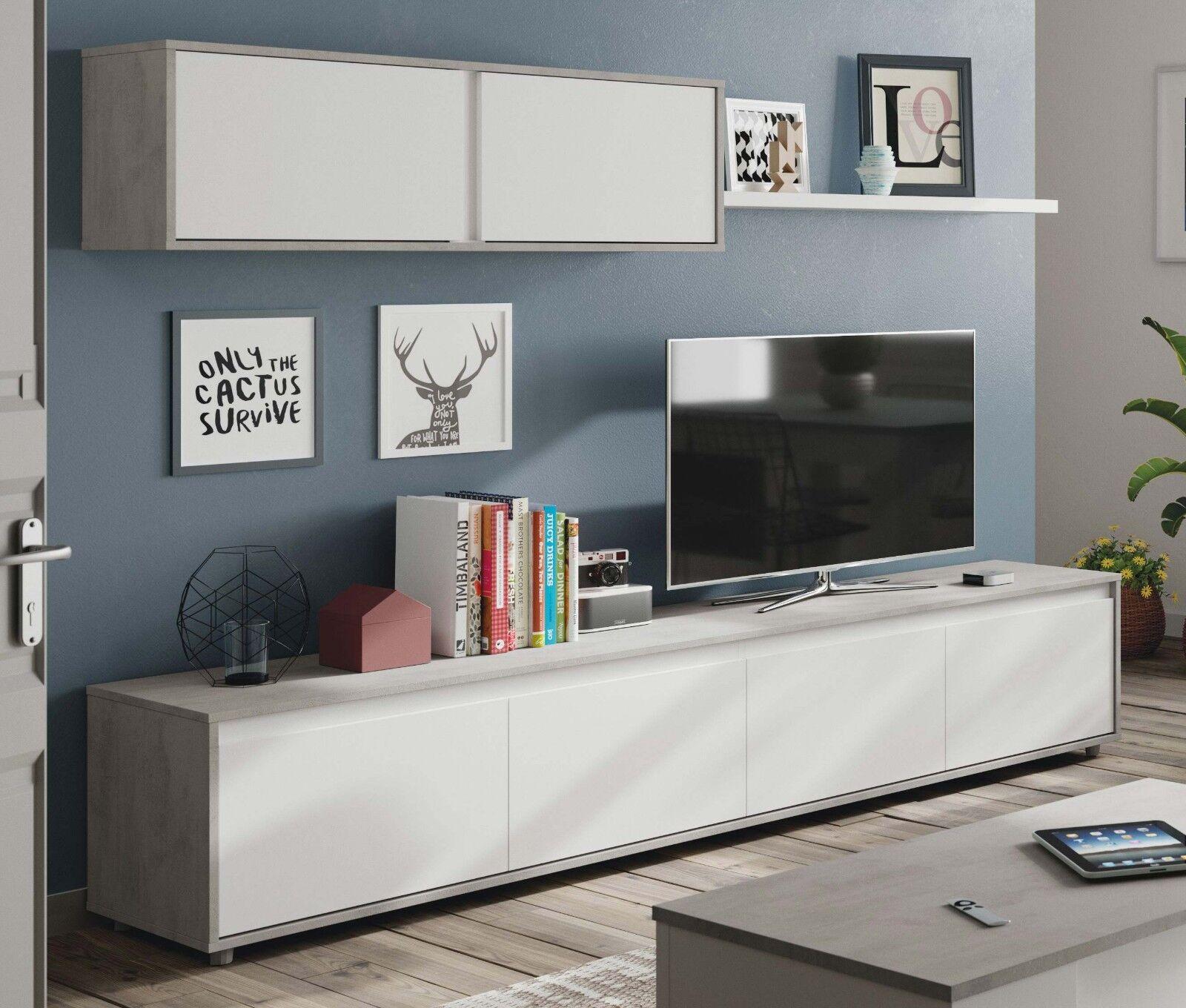 Mueble modular salon 2 módulos y estante color blanco y cemento 200x41...