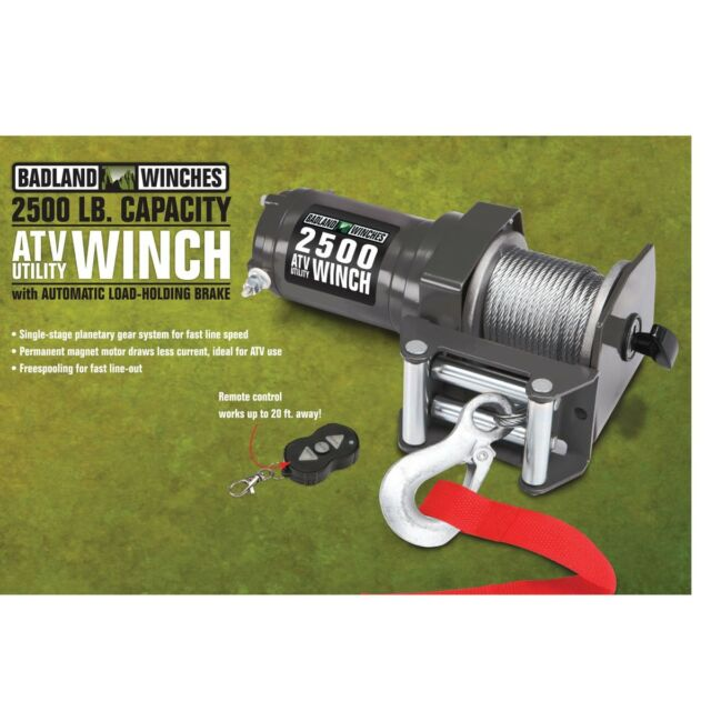 Badland 2500 lb 12V Electric Trailer UTV ATV Winch with Wireless Remote Control