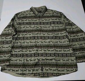 Woolrich-Deer-Elk-Hunting-Button-Up-Shirt-Mens-2XL-Olive-Aztec-Southwest-Sz-XXL