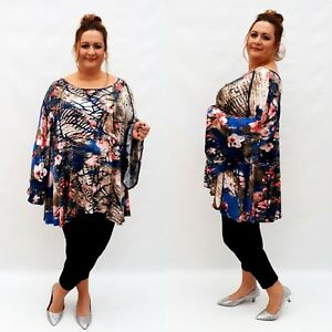 Plus-Size-Top-Tunic-Lagenlook-Stretchy-Blouse-Long-Sleeve-Jersey-Floral-Wolfairy