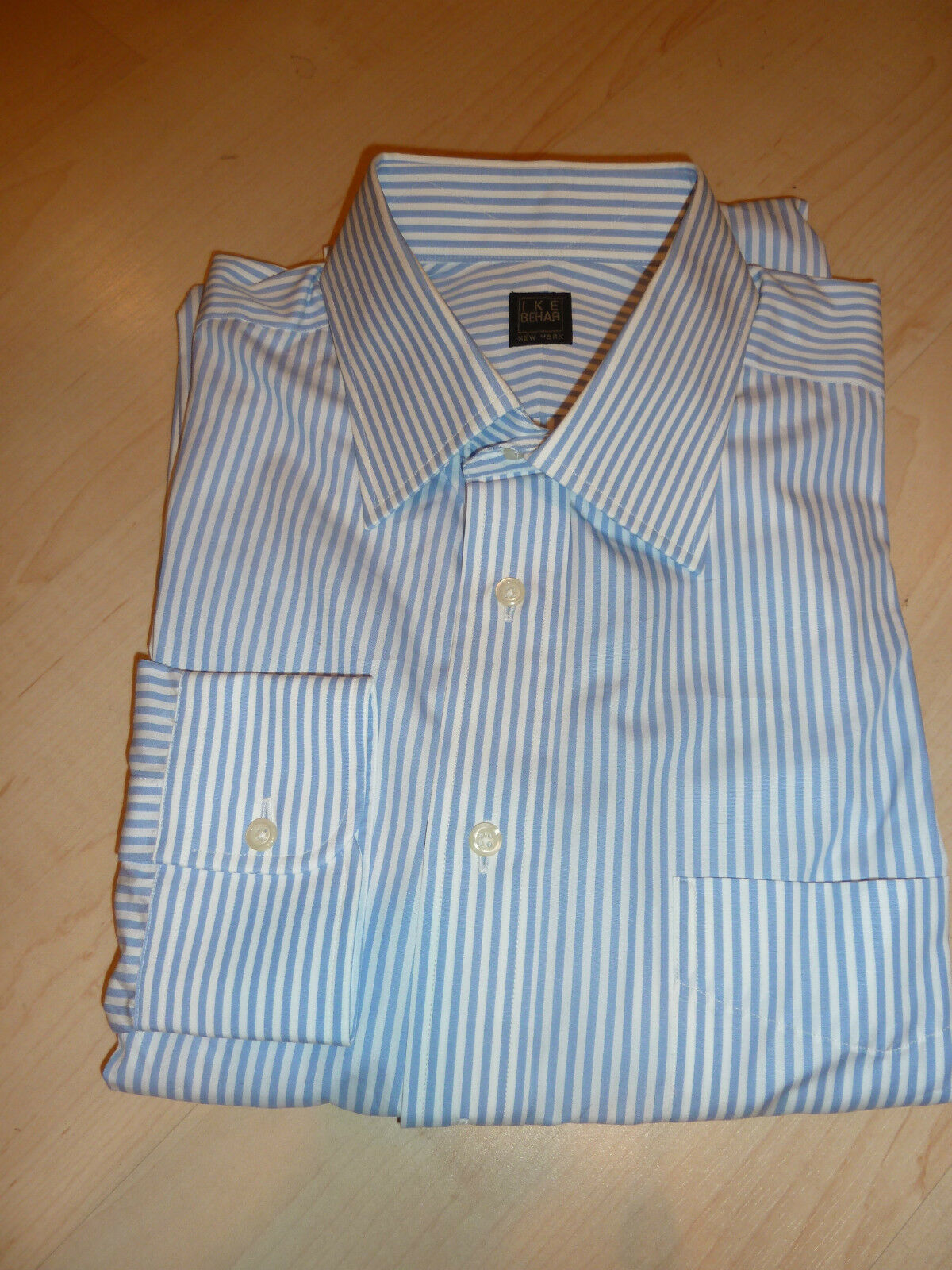 NEW  200+ SHIRT IKE BEHAR Herren Dress SHIRT 200+ 15.5 34 Stripes Made in USA 100% Cotton BC 3434a8