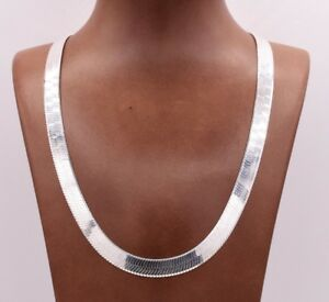 9mm-Flexible-Herringbone-Chain-Necklace-Real-Solid-Sterling-Silver-925-Italy