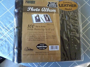 Pioneer-European-Sewn-Leather-Bonded-Photo-Album-100-4-034-x6-034-BLACK-Acid-Free-NEW