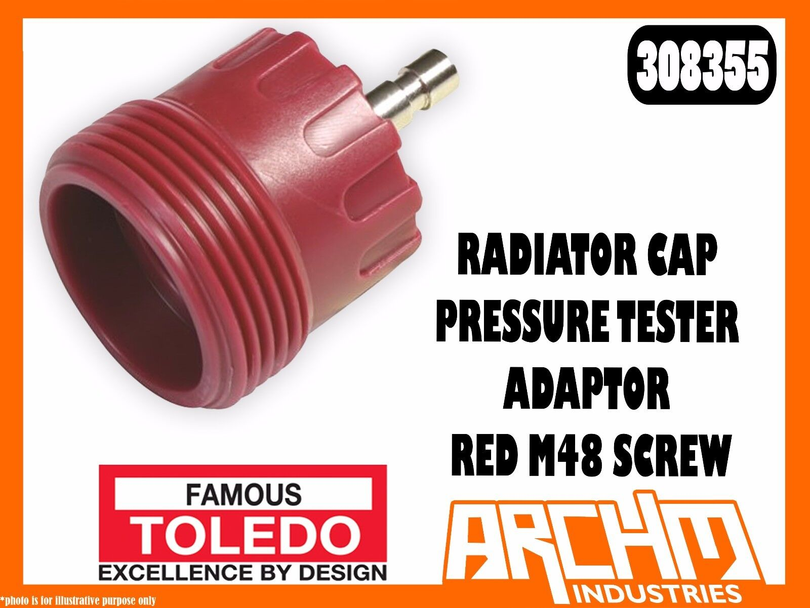 TOLEDO 308355 - RADIATOR CAP PRESSURE TESTER ADAPTOR - RED M48 SCREW