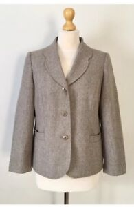 Ladies Easyst Tweed Herringbone taglia 12 Tiny Virgin New Wool Giacca 75xdnqU7