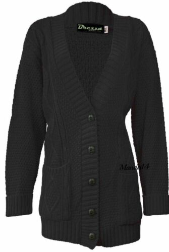 Women Ladies Long Sleeve Chunky Aran Button Cable Knit Grandad Cardigan Top 8-22