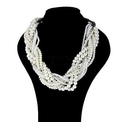 Fashion Women Jewelry Pearl Necklace Chain Statement Bib Chunky Collar TXSU
