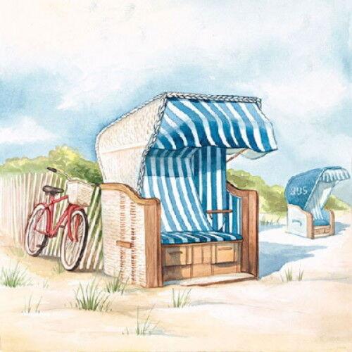 4 Servietten ~ Day at Beach Strandkorb Meer Fahrrad Serviettentechnik