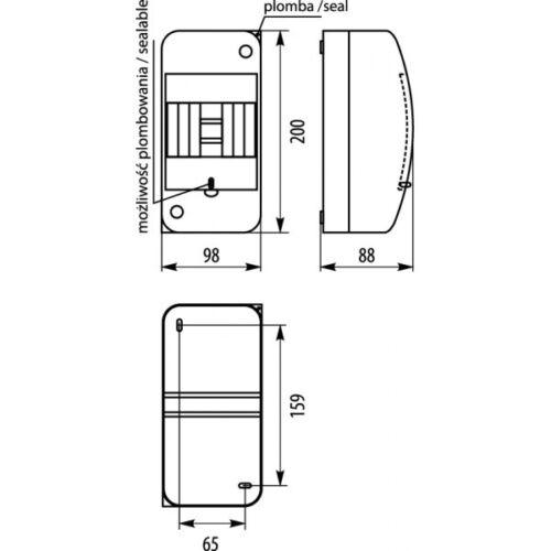 Verteilerkasten Sicherungskasten Kleinverteiler RNT 4 Module Aufputz IP42 6281
