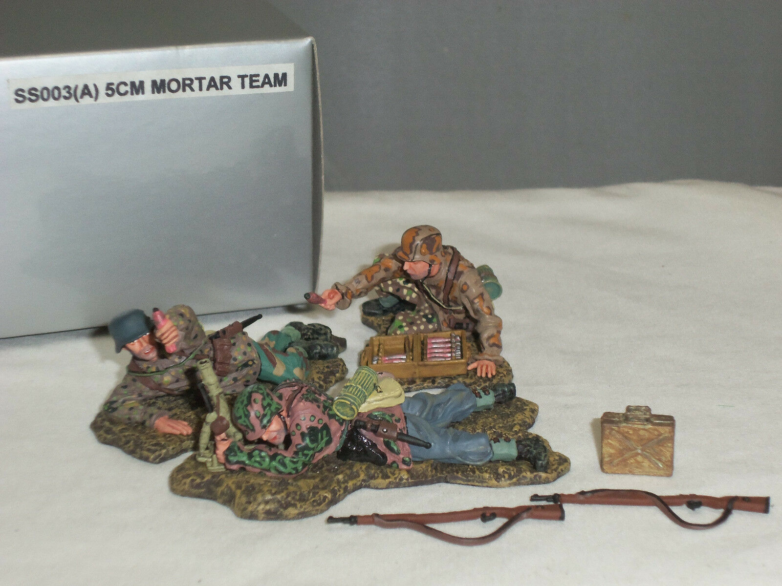 THOMAS GUNN SS003A GERMAN INFANTRY 5CM MORTAR GUN TEAM METAL TOY SOLDIER SET