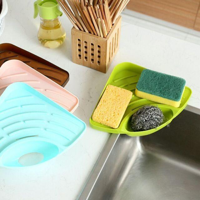 Portable Kitchen Sink Corner Storage Rack Sponge Holder Wall Mounted Tool Green For Sale Online Ebay