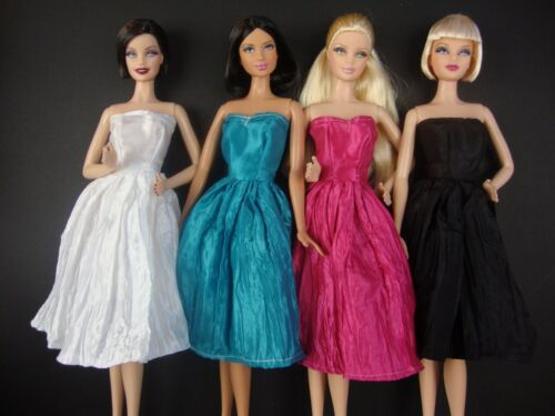 Set of 4 Amazing Knee Length Dresses in Pink, Blue, Black & White - Barbie